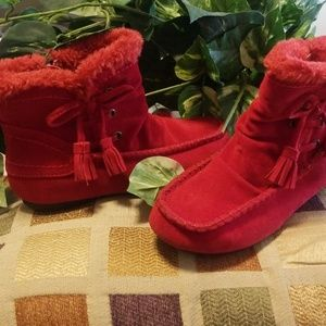 Red Kalli Suede Ankle Bootie